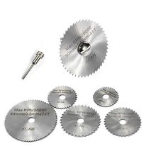 7Pcs HSS Rotary Tool Woodworking Circular Saw Blades Kit Set Fits Dremel 1/8 Mandrel Mini Cutting Disc for Wood Carving