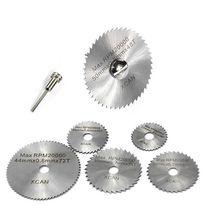7Pcs HSS Rotary Tool Woodworking Circular Saw Blades Kit Set Fits Dremel 1/8