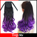 Woman Ponytails Black Purple Synthetic Hair Extensions Natural Wavy Fluffy Lady Ponytail Clip In Ribbon Female Wave Hairpieces