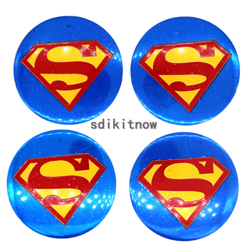 4pcs Superman Car Wheel Center Hub Caps Cover Rim Sticker Badge Styling For Toyota Mazda Kia Skoda Subaru Cruze BMW Honda VW image