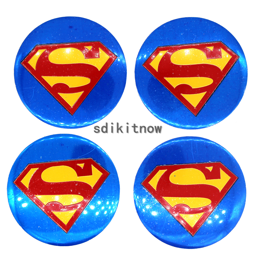 4pcs Superman <font><b>Car</b></font> <font><b>Wheel</b></font> <font><b>Center</b></font> <font><b>Hub</b></font> <font><b>Caps</b></font> Cover Rim Sticker Badge Styling For Toyota Mazda Kia <font><b>Skoda</b></font> Subaru Cruze BMW Honda VW image