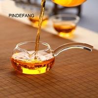 PINDEFANG Side-handle Apple Style Hand-blown Heat-resistant Glass Fair Mug Serving Cup Sharing pot Gift teaset Kungfu teaware