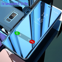 For Samsung S8 Case with Original Smart Chip Clear Mirror View Stand Flip Case for Samsung Galaxy S8 Plus Note 8 Case Cover Capa