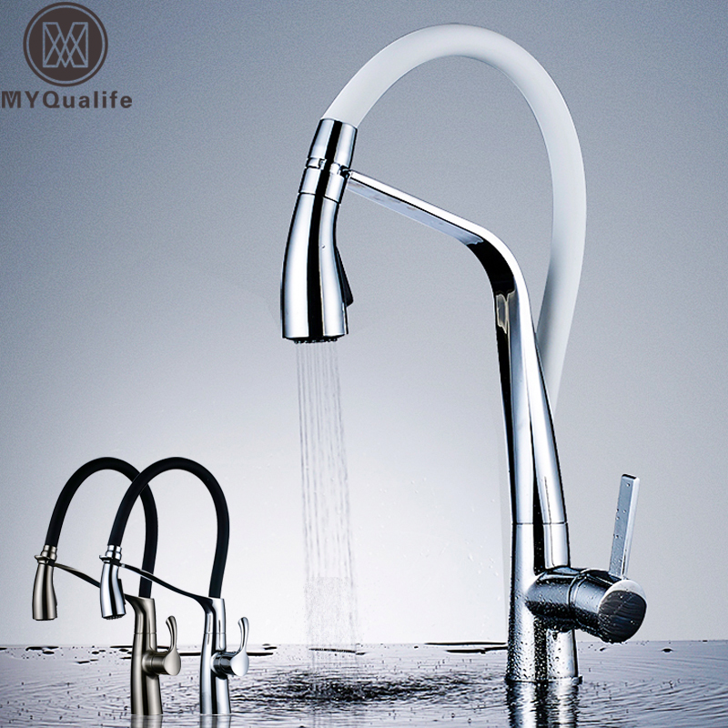 Chrome White Kitchen Faucet Deck Mounted Hot Cold Water Mixer Faucet For Kitchen Pull Down Mixer Crane 2 Function Spout