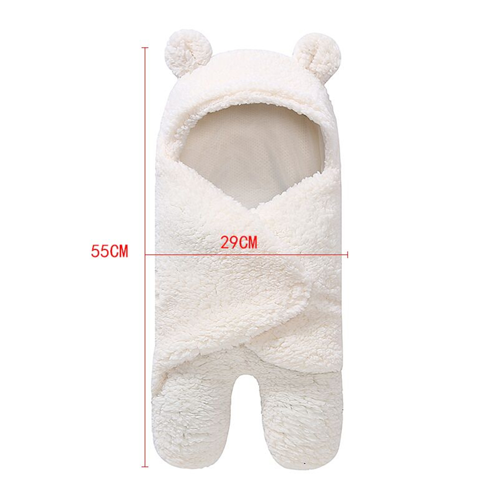 Yeedison Autumn Winter Envelope For Newborns Solid Warm Baby Sleeping Bag Coral Fleece Infant Swaddle Blanket Hooded Footmuff (4)