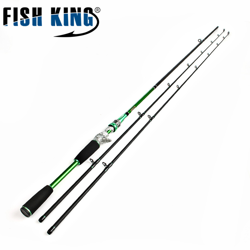 FISH KING Carbon Fiber Saltwater Fishing Rod 2.4M 2 Tips M + ML Casting Rod Fast Action Stunning Reel Seat Lure Fishing Rods goture 2 1 2 4m baitcasting fishing rod carbon fiber medium fast action 2 section lure fishing rods
