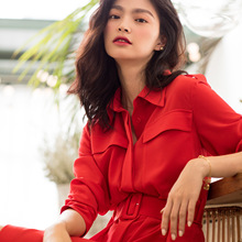 2019 Spring and Summer New Model In The Same Section of Long Red Dress Femininity Match Korean Version Black Dresses Women