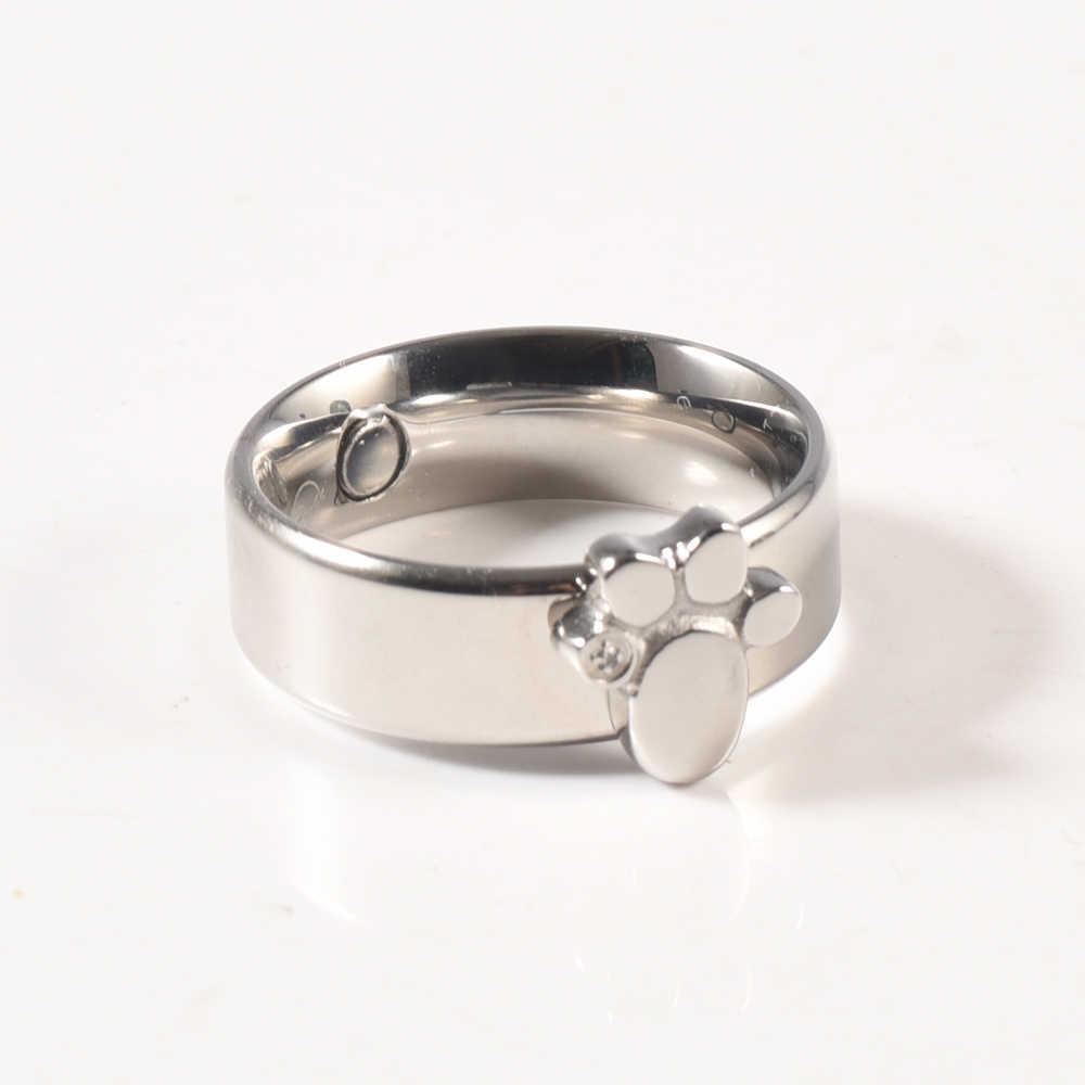 Wollet Jewelry животных кошка собака дефект след био Магнитная Медь кольцо для женщин мужчин здоровье и гигиена CZ камни серебристый цвет