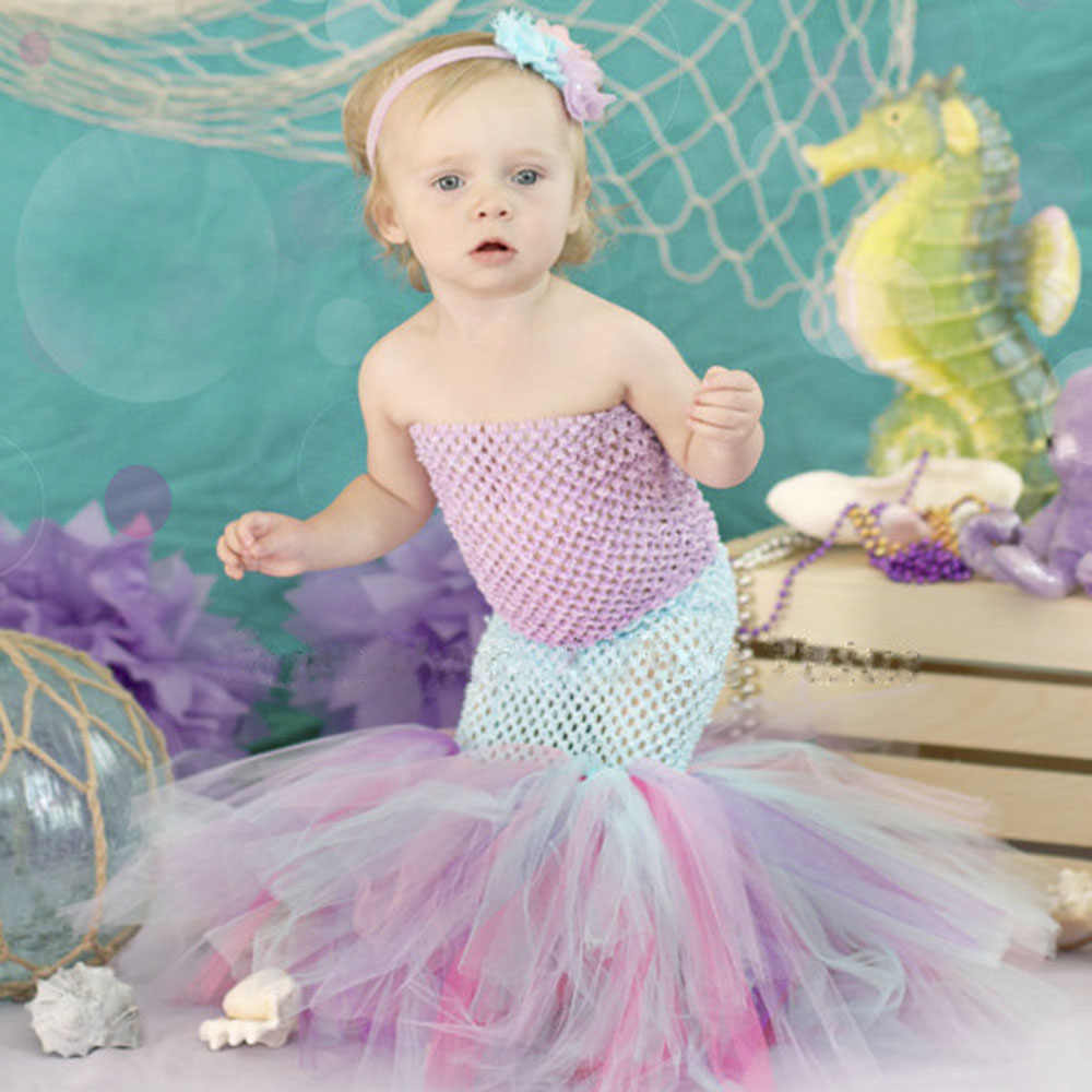 5f3ad77eca75 5 Color Mermaid Baby Girls Dresses Cute Green Fishtail Tutu Set Months  Under The Sea Photo