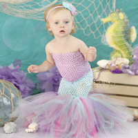 5 Color Mermaid Baby Girls Dresses Cute Green Fishtail Tutu Set Months Under The Sea Photo Prop Outfit Fishy Halloween Costume