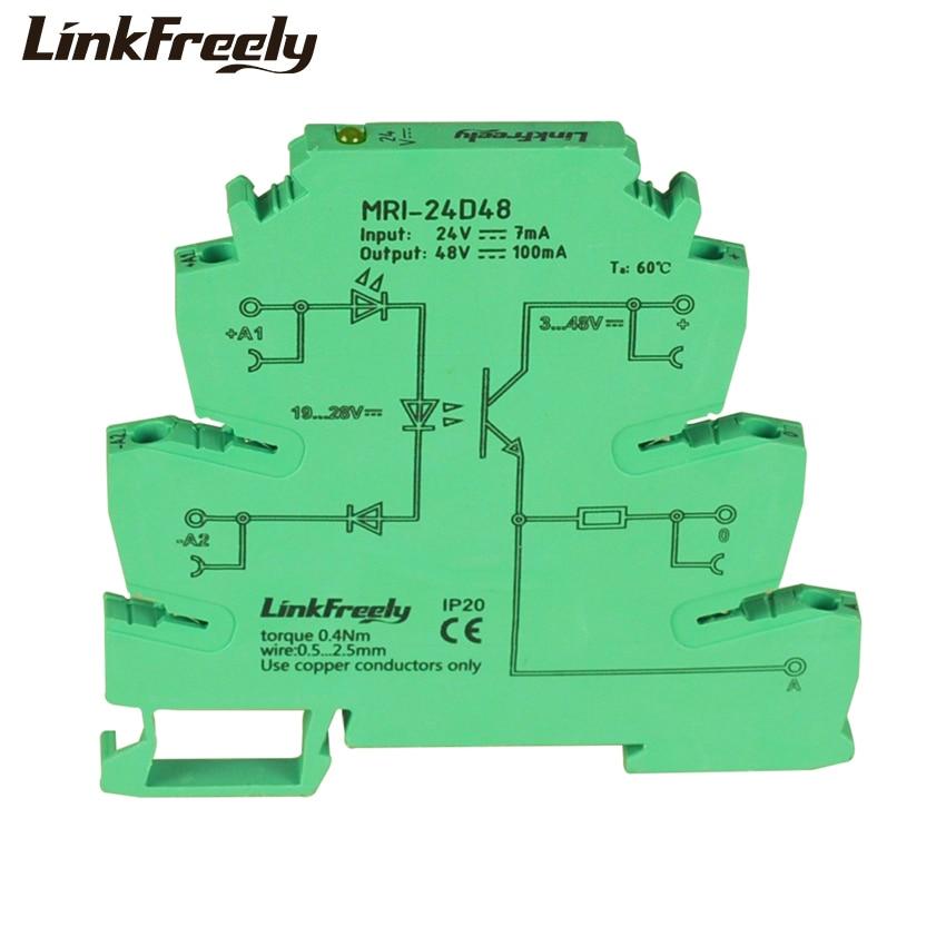 MRI 24D48 10pcs LED Photo Light Coupling interface Relay Module 24VDC PLC Programmable Optocoupler Signal Isolator