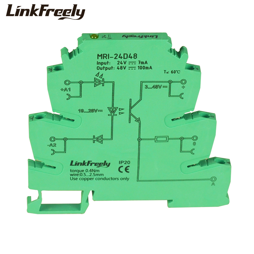MRI-24D48 10pcs LED Photo Light Coupling-interface Relay Module 24VDC PLC Programmable Optocoupler Signal Isolator Voltage