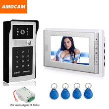 7″ LCD Video Doorbell Kits Door Phone Intercom System Aluminum Alloy Panel Camera Password ID IR Night Vision Call and Intercom