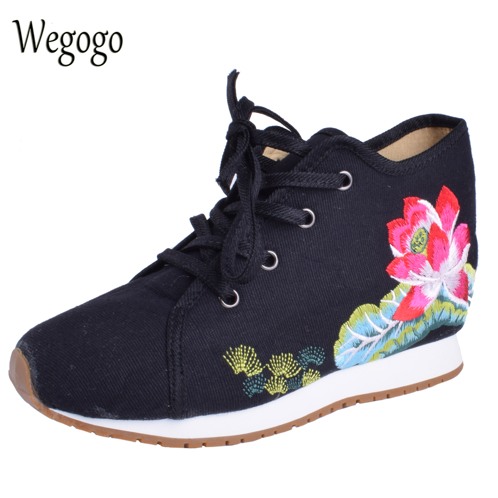 Wegogo Women Lotus Embroideried Travel Shoes Canvas Chinese Lace Up Casual Cotton Cloth Platforms Shoes Woman Sapato Feminino summer women shoes casual cutouts lace canvas shoes hollow floral breathable platform flat shoe sapato feminino lace sandals