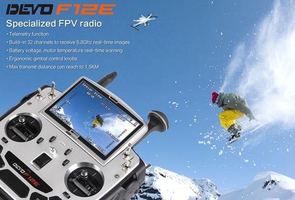 Newest Walkera Devo F12E with AL-Case Build-in 32 Channel Telemetry Radio Control transmitter for QR X350PRO TALL H500 original walkera devo f12e fpv 12ch rc transimitter 5 8g 32ch telemetry with lcd screen for walkera tali h500 muticopter drone