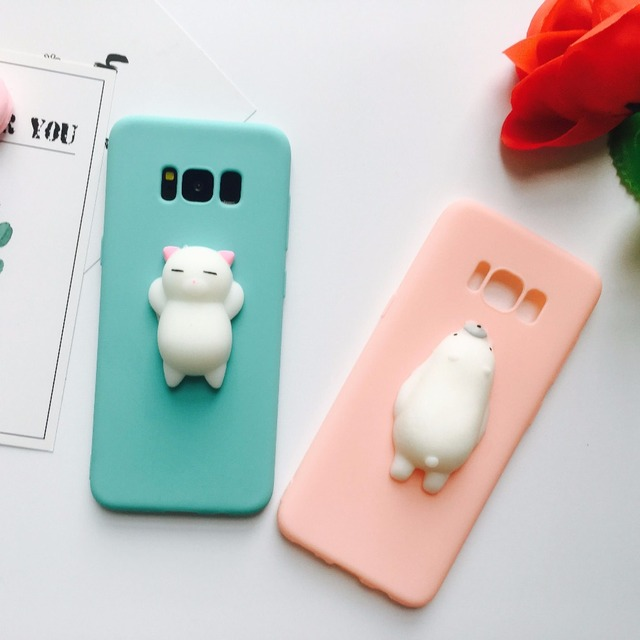 new style e570a ffcc6 US $4.8 |Case For Samsung Galaxy S6 Edge Cover S7 Edge S8 Plus Note 8 Case  Korean Soft Squishy Cat Funda Cover Funny S6 S7 S8 Girly Coque-in Fitted ...