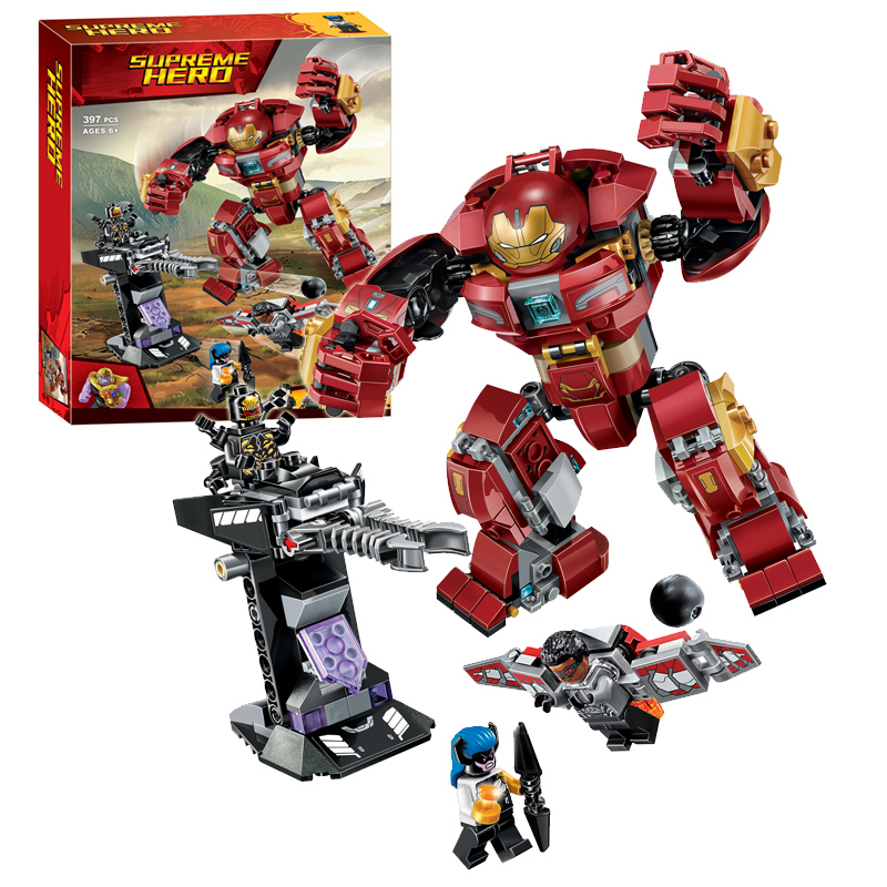 все цены на Marvel Avengers Infinity War Ironman Hulkbuster building blocks 76104 Super Hero figures model bricks toys gift онлайн