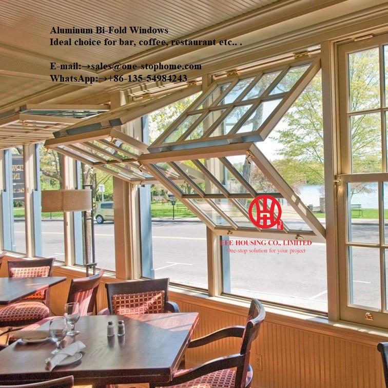 Tempered Glass Powder Coating Aluminum Folding Window,coffee House Window,coffee Shop Window,aluminum Alloy Sheet Bifold Window