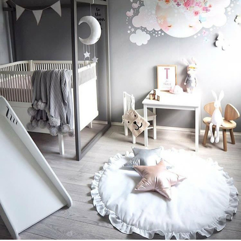 Newborn Infant Crawling Blanket Cotton Round Floor Carpet Rugs Pad Mat For Kids Room Baby Nursery Decor Photo Background Props