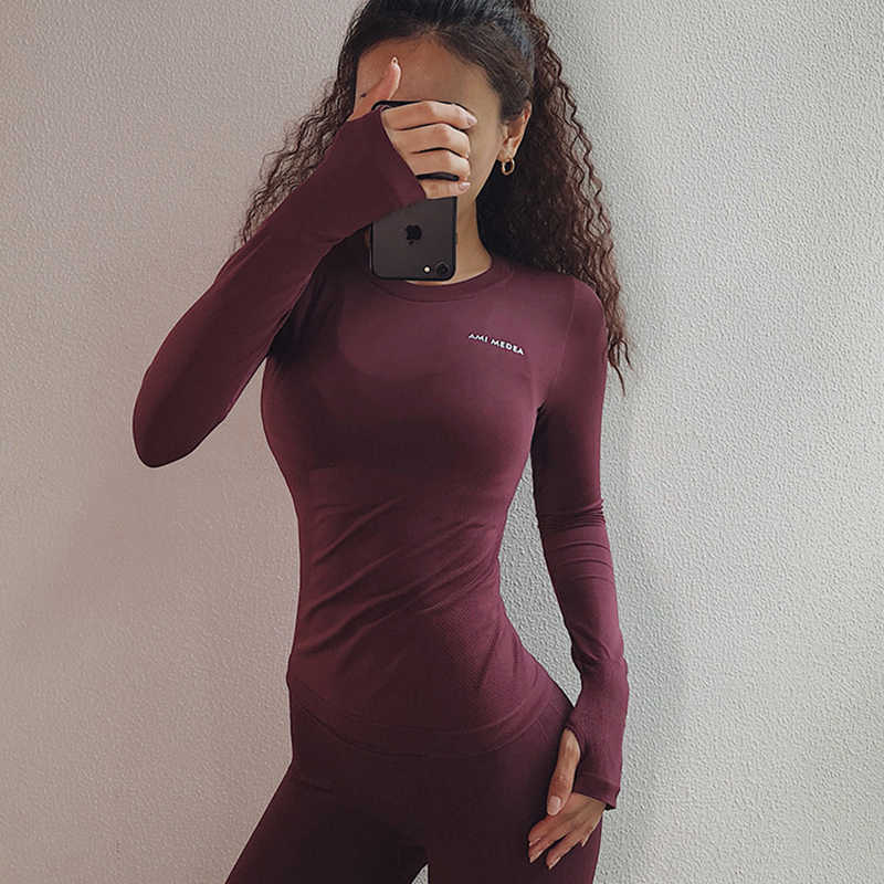 SALSPOR Sexy Women Letter Printing Sport Shirts Solid Color High Elastic Gym Yoga Top Running Breathable Long sleeve T-Shirts