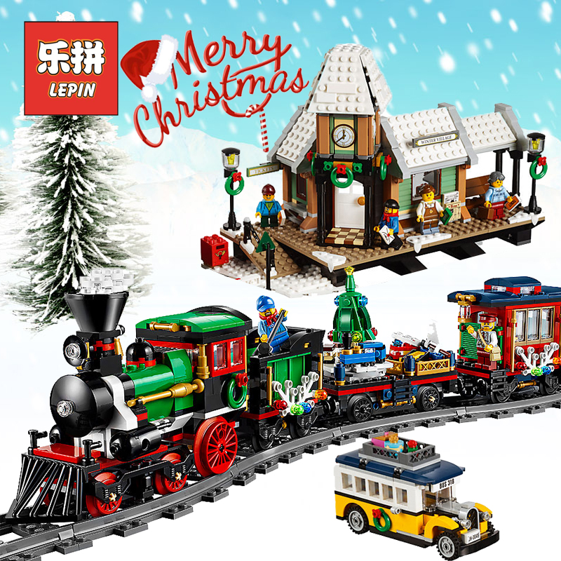 Lepin Creator 36001 36011 the Christmas Winter Train set Village Train Station 10254 10263 Model Building Bricks Children Toys dhl lepin 36001 winter holiday train 36011 winter village train educational building blocks toys gifts clone with 10254 10259