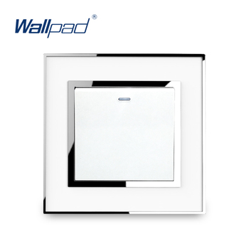 цена на 1 Gang 3 Way intermediate Light Switch Luxury Acrylic Panel With Silver Border Wallpad Cross Button Wall Switch 16A AC110-250V