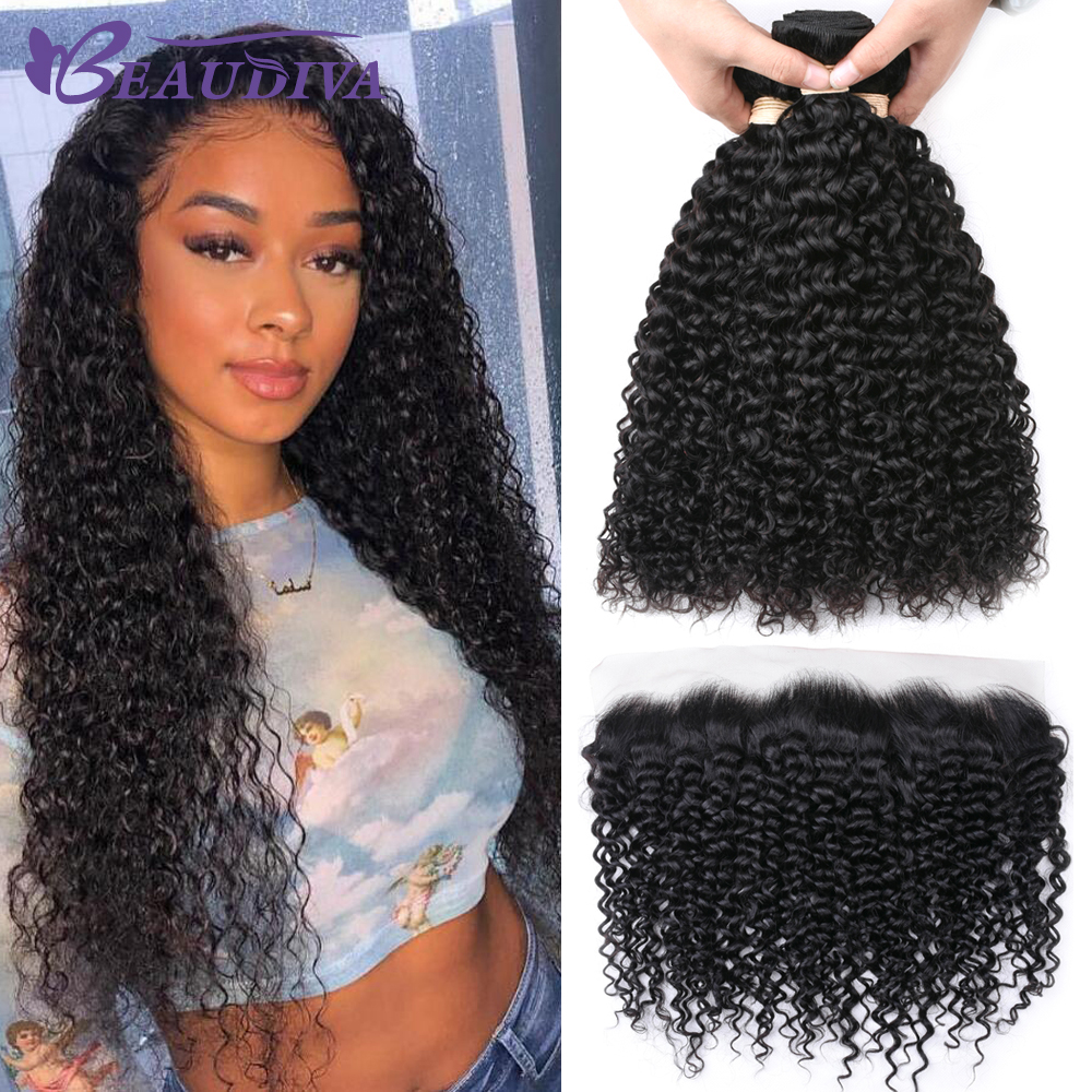 Mongolian Kinky Curly Hair Bundles With Frontal 13 4 Pre Plucked Frontal Remy 100 Human Hair