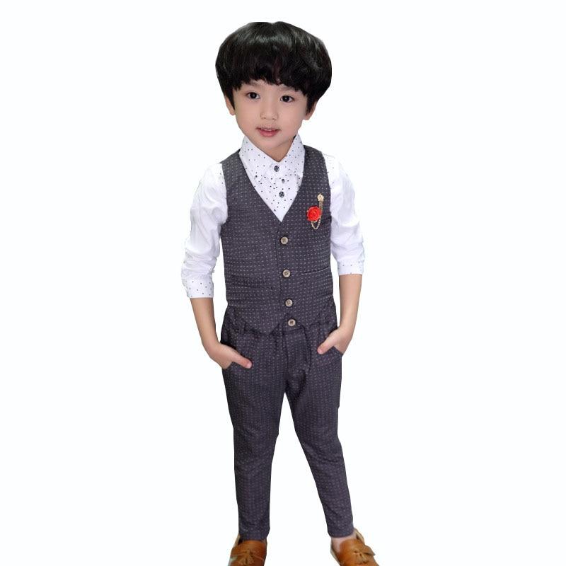 7542ec7b162d3 Boys Formal Clothing Sets Spring Autumn Boys Wedding Clothes Vest ...