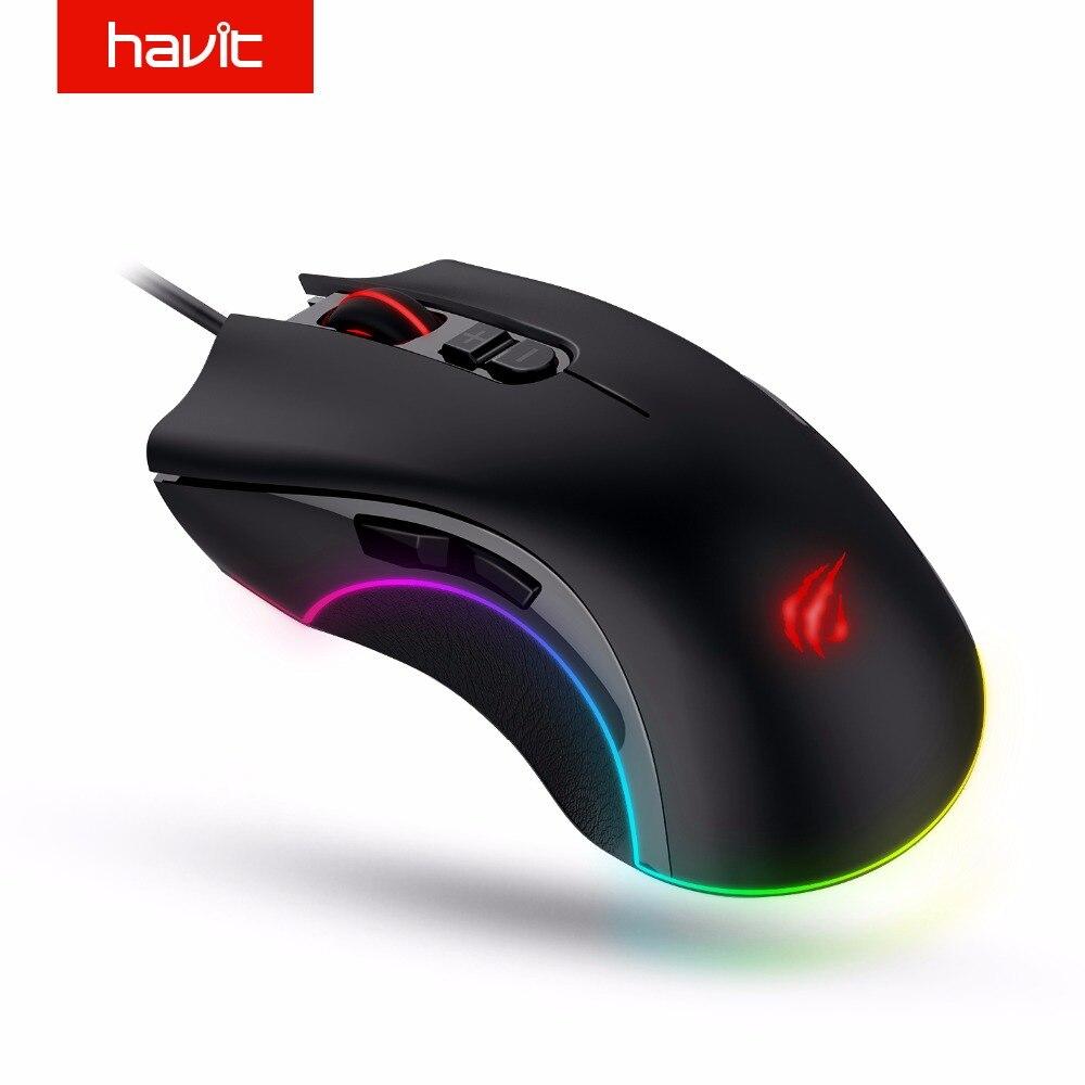 HAVIT de ratón de juego de 7200 DPI programable 7 botones RGB retroiluminado USB ratón óptico con cable jugador para PC ordenador portátil HV-MS794