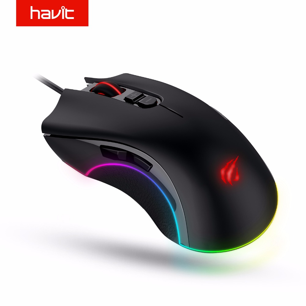 Ratón para juegos Hawit 4000 dpi programable 7 botones RGB retroiluminado USB con cable óptico ratón Gamer para PC ordenador portátil HV-MS794