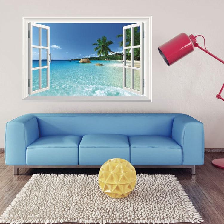 3D Effect Beach Sea Window Landscape Scenery Wall Sticker Wallpaper Mural Waterproof Art Wall Paper Poster Home Decor Decals in Wall Stickers from Home Garden