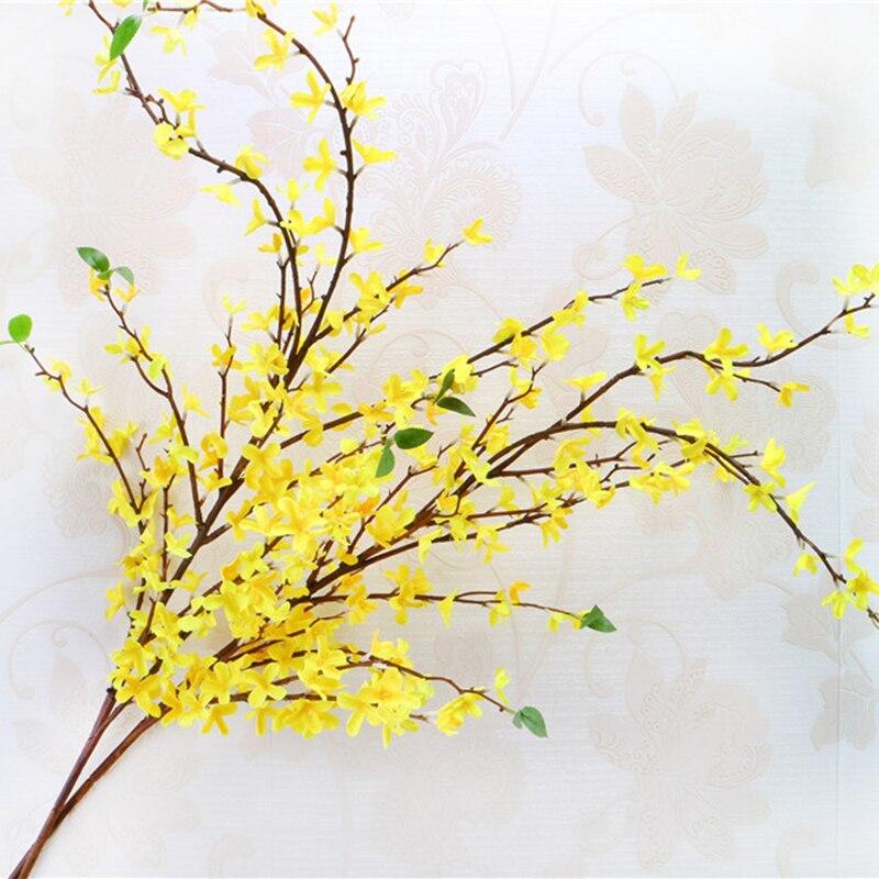 Artificielle Longue Source De Fleur Materiel Soie Tissu Fleur Jaune