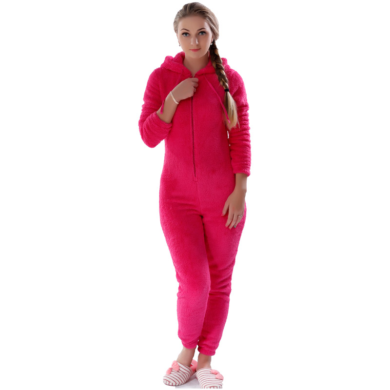 Winter Warm Pajamas, Women's Sleepwear Fleece Pajamas Set, Lounge Hooded Pajamas 4