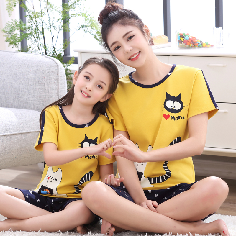 Mommy <font><b>and</b></font> Me <font><b>Mother</b></font> <font><b>Daughter</b></font> <font><b>Pajamas</b></font> <font><b>Set</b></font> Home Clothes Family Clothing 100% Cotton Shirt+shorts Janpanse Robes Girls Nightwear image