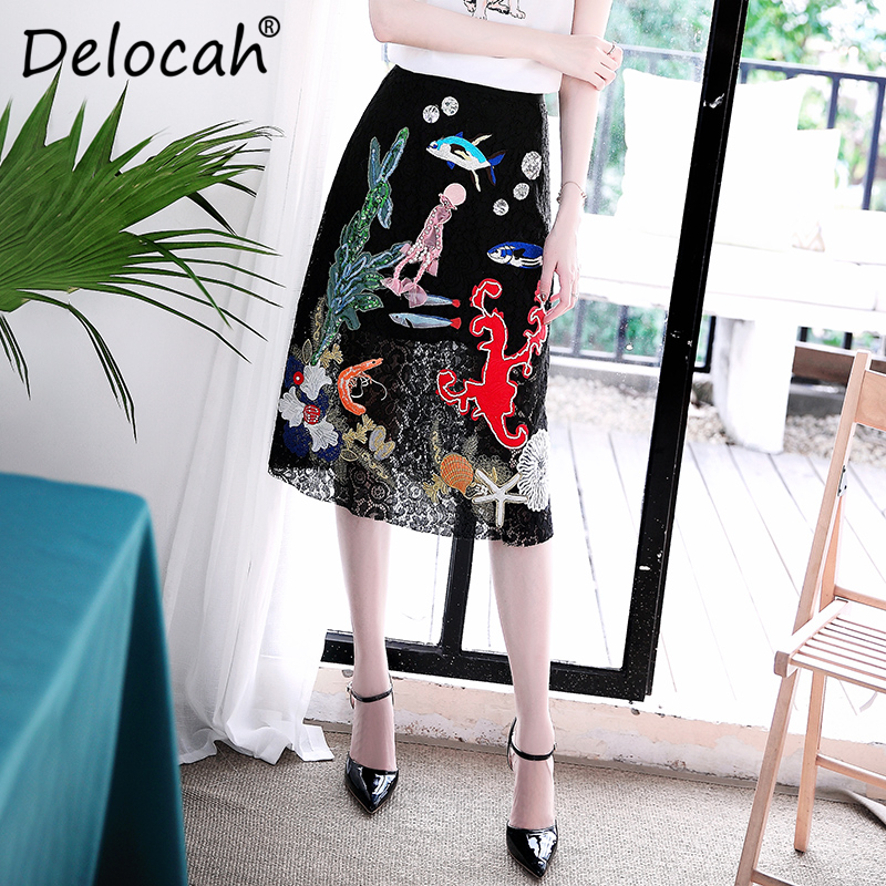 Delocah New Summer Fashion Designer Women Skirts Luxury Sequined Embroidery Vintage Black Lace Skirts High Quality