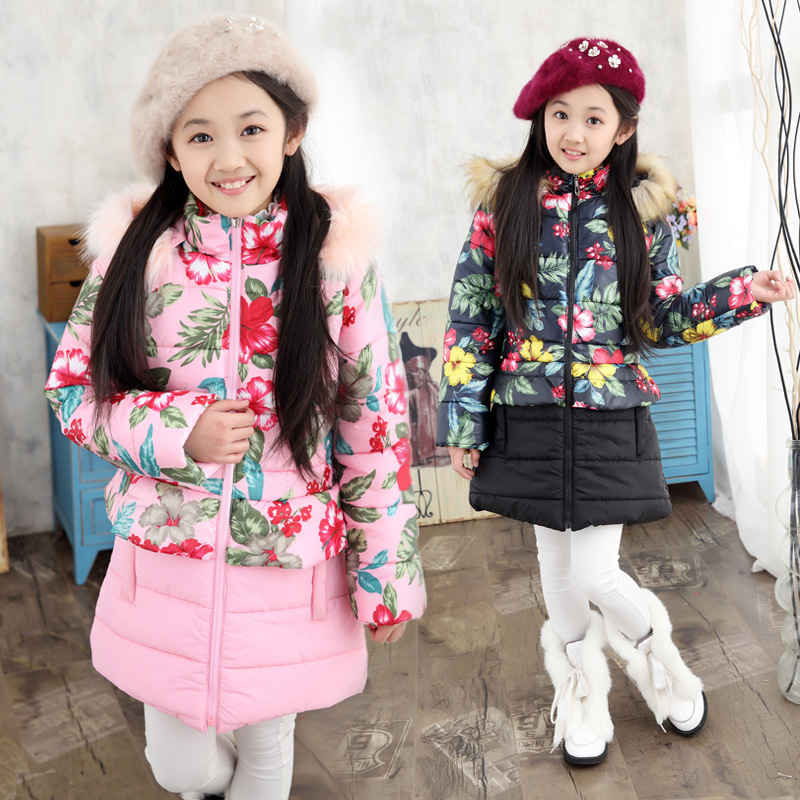 цены Girl Coat Winter Clothing Thickening Hooded Long Coat Cotton-padded Jacket Kids Clothes Fashion Girls Winter Outerwear