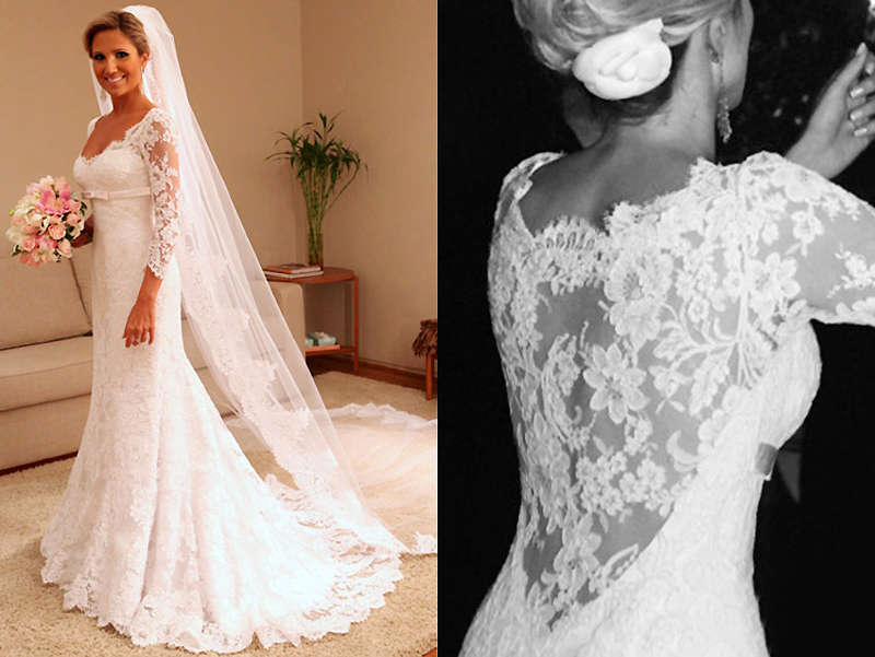Vintage Wedding Gowns Plus Size Zipper Closed Lace Wedding Dress ...