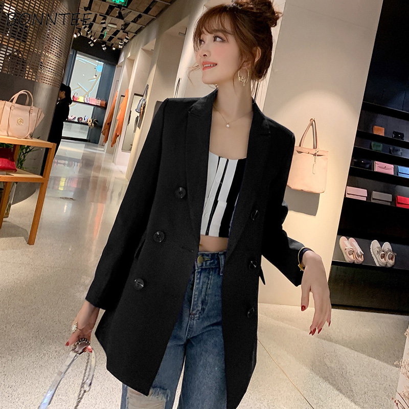 Blazers Women Solid Long-sleeve Korean Style Loose Ladies Simple All-match Womens Leisure 2019 Clothing Single Breasted Daily