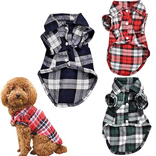 POP ITEM!  Cute Pet Dog Puppy Plaid Shirt Coat Clothes T-Shirt Top Apparel Size XS S M L C1HW