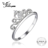 JewelryPalace Crown Round Cubic Zirconia Anniversary Promise Engagement Ring For Women Real 925 Sterling Silver Wedding
