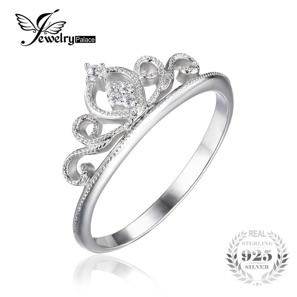 Prix pour JewelryPalace Couronne Ronde Anniversaire Promesse Bague de Fiançailles Pour Les Femmes Réel 925 En Argent Sterling De Bijoux De Mariage