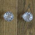 2 unids 40mm Clear Glass Crystal Gabinete Perillas Del Cajón Perilla tire de la Manija de la puerta Armario Ropero cómoda Diamante Patrón