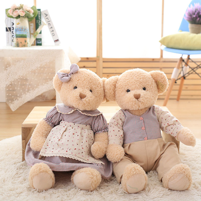 Nooer 65cm A Pair Of 2 Pcs Plush Teddy Bear Toy Weeding Decor Stuffed Bear Kids Doll Birthday Christmas Children Baby Gift nooer plush bull terrier dog kids baby toy super soft sleeping pillow for children birthday christmas gift free shipping