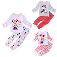 Pajamas Set Sleepwear Tops Pants Casual Cute Minnie Mouse Baby Kids Girls Clothes Set Size 2T