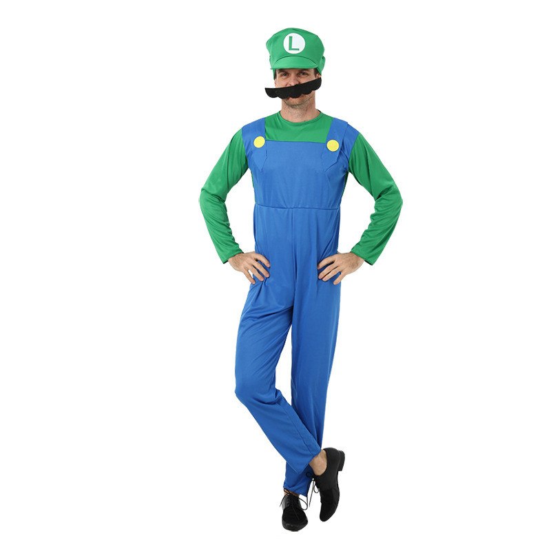 Adult Mens Kids Luigi Super Mario Brothers Cosplay Costumes With Hat Beard Plumber Halloween Carnival Masquerade Fancy Clothing