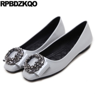 Cheap Shoes China Patent Leather Rhinestone Square Toe Chinese Women Flats Grey Spring Autumn Roll Up