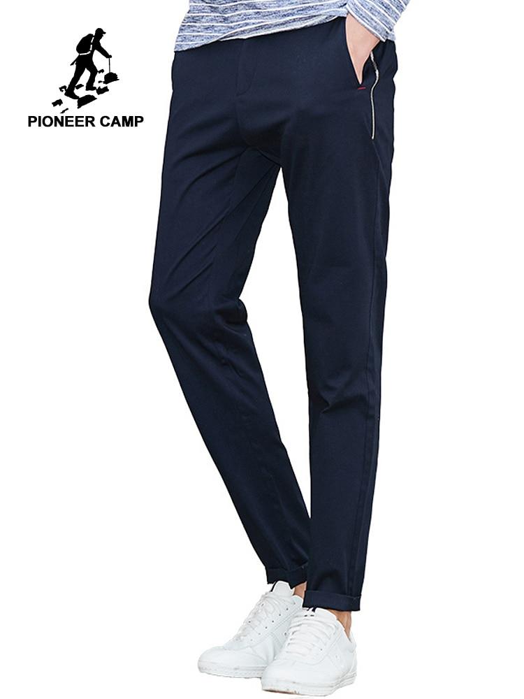 Пионерский лагерь повседневные штаны брендовая мужская одежда solid stretch мужчин Штаны наивысшего качества Мужские брюки темно-синие хаки ...