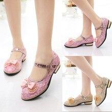 Rose fille chaussures 2017 belle fond mou en cuir arc fleur fille de mariage de mode filles robe chaussures princesse chaussures pour enfants