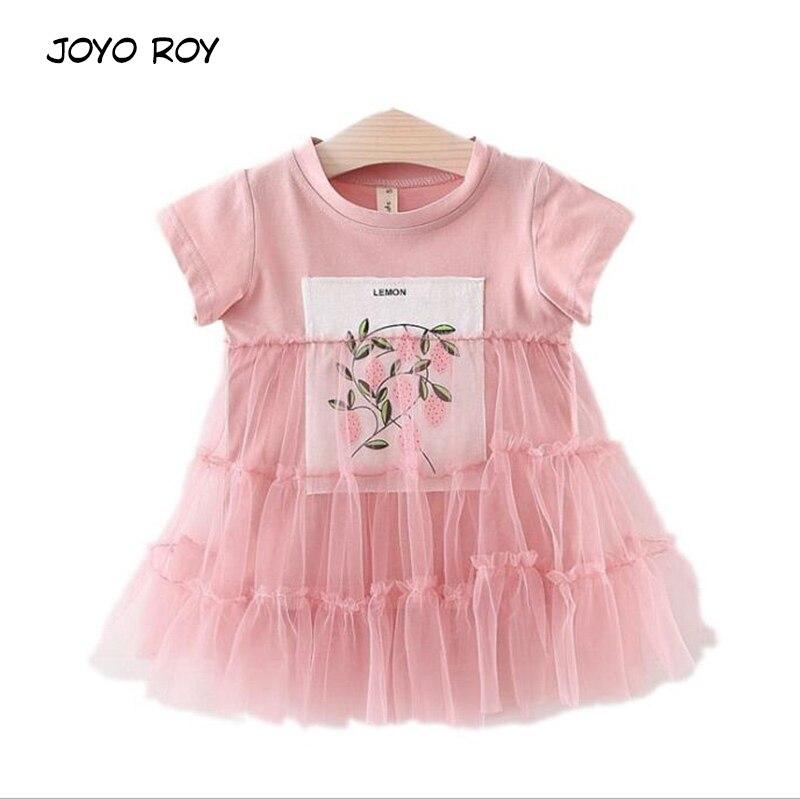 lememogo Summer New Casual Baby Girls Mesh Dress Cute Newborn Print Short Sleeve Dress Baby Princess Draped Cotton Dresses Girl