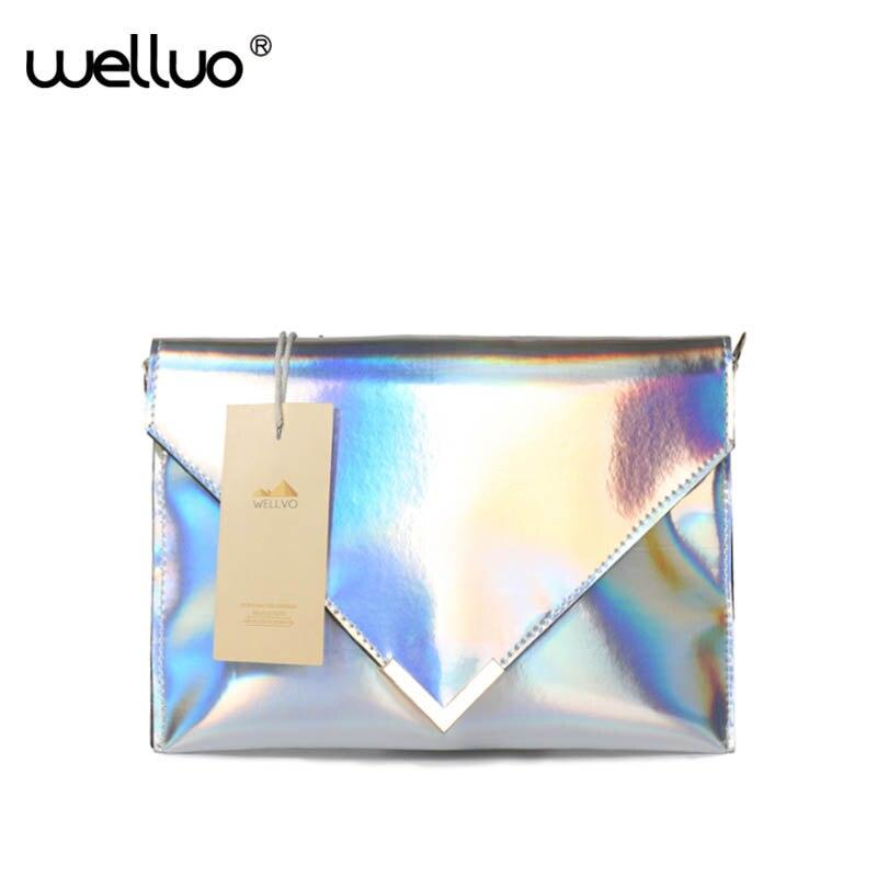 2018 Frauen Laser Leder Handtaschen Tag Kupplungen Hologramm Silber Umschlag Abend Kupplung Mini Kette Flap Taschen Schulter Tasche Xa1264b